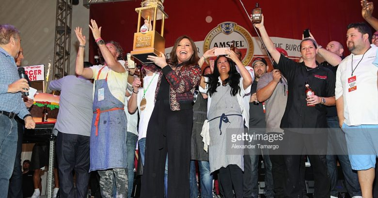attends Amstel Light Burger Bash Presented By Schweid & Sons Hosted By Rachael Ray during 2016 Food Network & Cooking Channel South Beach Wine & Food Festival Presented By FOOD & WINE at Beachside at The Ritz Carlton on February 26, 2016 in Miami Beach, Florida.